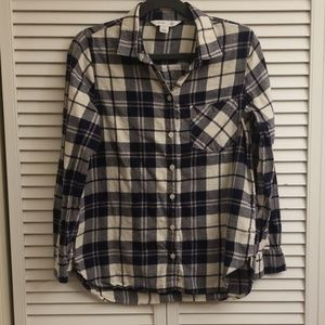 Old Navy Classic Shirt, Blue and White Flannel